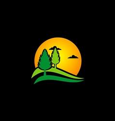 Pine tree sunset nature logo vector