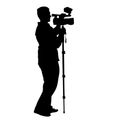 Cameraman with video camera silhouettes on white vector