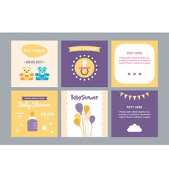 A set of templates for baby shower invitation and vector image