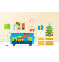 Atmosphere of new year furniture for relaxing vector