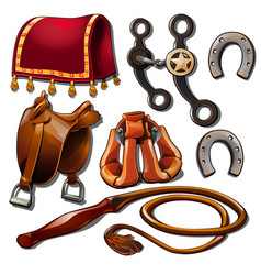 Attributes of cowboy and horse accessories vector