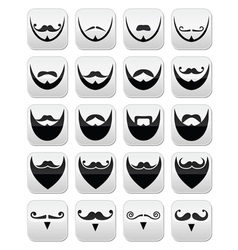 Beard with moustache or mustache icons set vector