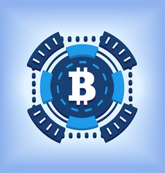 bitcoin chip online currency isolated vector image