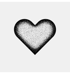 Black abstract heart sign with grain texture vector