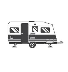 Camping trailer family traveler truck outline icon vector