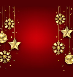 christmas background with golden balls stars and vector image vector image