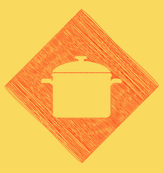 Cooking pan sign red scribble icon vector