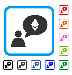 Ethereum thinking person framed icon vector