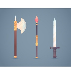 Fantasy medieval cold weapon set in flat-style des vector