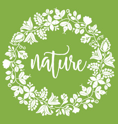 Floral nature wreath on green background vector