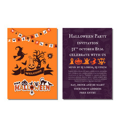 halloween party invitation card template vector image