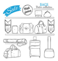 hand drawn bag shop concept vector image vector image
