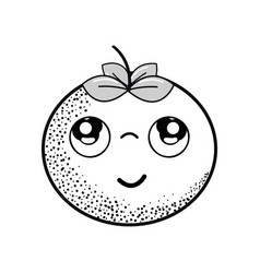 Hand drawn kawaii nice thinking tomato vegetable vector