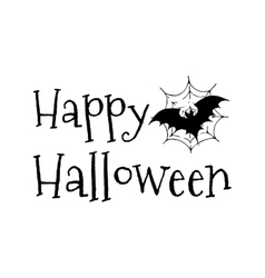 Happy Halloween bat in the web vector image