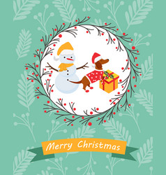 Holiday postcard with funny dachshund and snowman vector