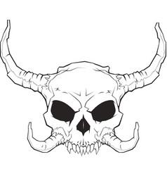 horned skull 001 2 vector image vector image