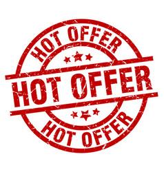 Hot offer round red grunge stamp vector
