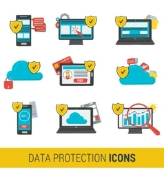 Icon set concept data protection vector image vector image