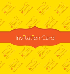 Knife fork spoon invitation card vector