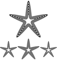 Line pentagram star logo design set vector