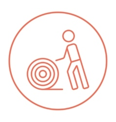 Man with wire spool line icon vector image