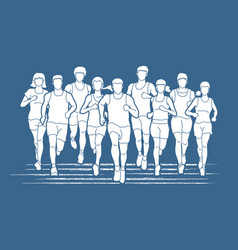 marathon runners group of people running vector image
