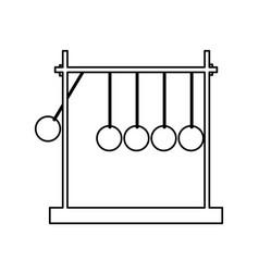 Newtons cradle momentum pendulum metal line vector