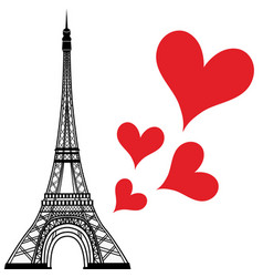 paris town in france love heart eiffel tower vector image