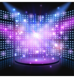 Performance stage with lightbulb glowing backdrop vector image