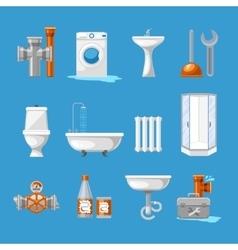 Plumbing sanitary engineering icons sink in vector