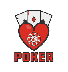 poker emblem with cards vector image vector image