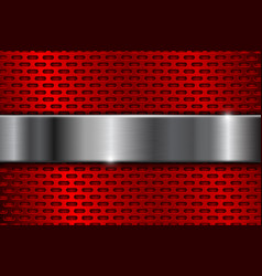 Red metal perforated background with iron plate vector