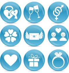 Romantic web icons vector image vector image