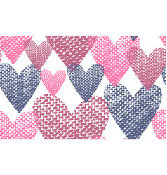Seamless pattern textile hearts background vector