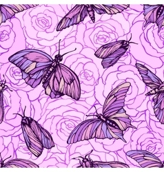 Seamless pattern with butterflies in soft vector