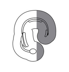 Sticker silhouette headphones communication icon vector
