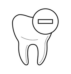 tooth icon with negative mark icon vector image vector image