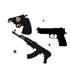 two pistols and machine vector image vector image