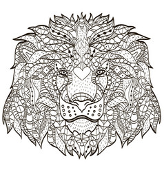 Zentangle stylized cartoon head of a lion vector