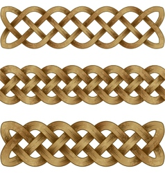 Set of bronze celtic braids vector