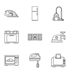Technique icons set outline style vector