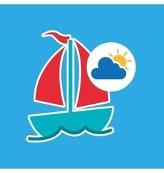 Summer vacation design sailing boat icon vector