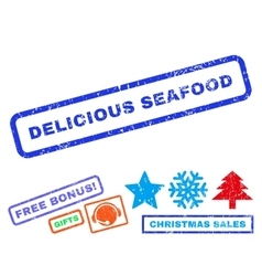 Delicious seafood rubber stamp vector
