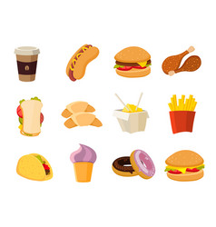Cartoon fast food collection vector