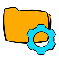 Folder with gear wheel icon cartoon vector