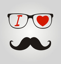 Print i love hipster style glasses and mustaches vector