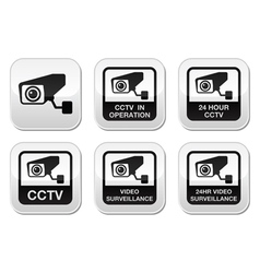 CCTV camera Video surveillance buttons set vector image