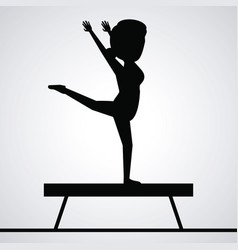 Black silhouette faceless woman gymnast on balance vector