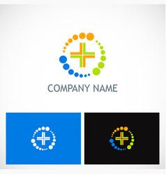 medic cross colored technology logo vector image