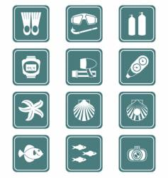 scuba diving icons   vector image